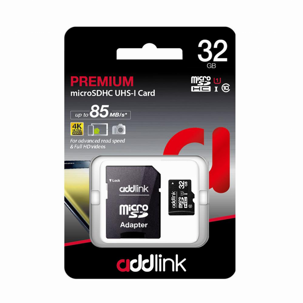 Addlink карта памет microSDXC 32GB UHS-1 Class 10 Adapter - ad32GBMSH310A