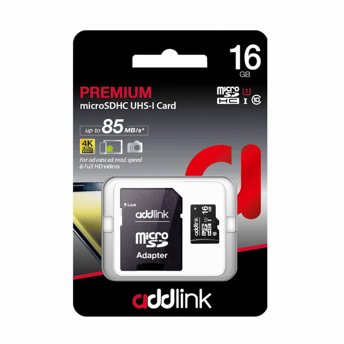 Addlink карта памет microSDHC 16GB UHS-1 Class 10 Adapter  - ad16GBMSH310A