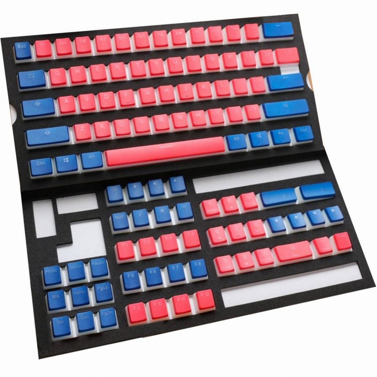 Капачки за механична клавиатура Ducky Pudding Red & Blue 108-Keycap Set PBT Double-Shot US Layout