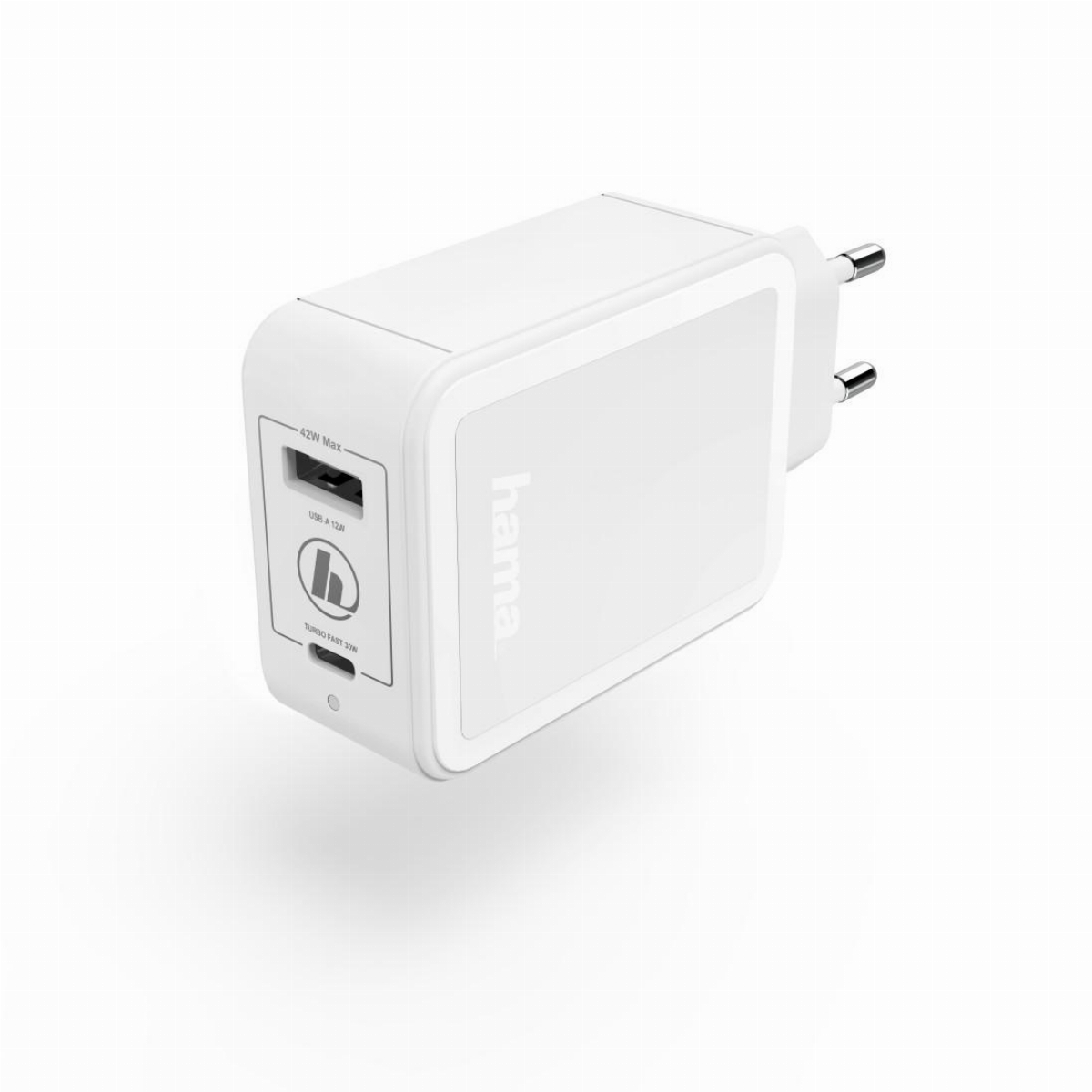 Зарядно 220V HAMA GaN, USB-C Power Delivery (PD) + USB-A, 42W, Бял