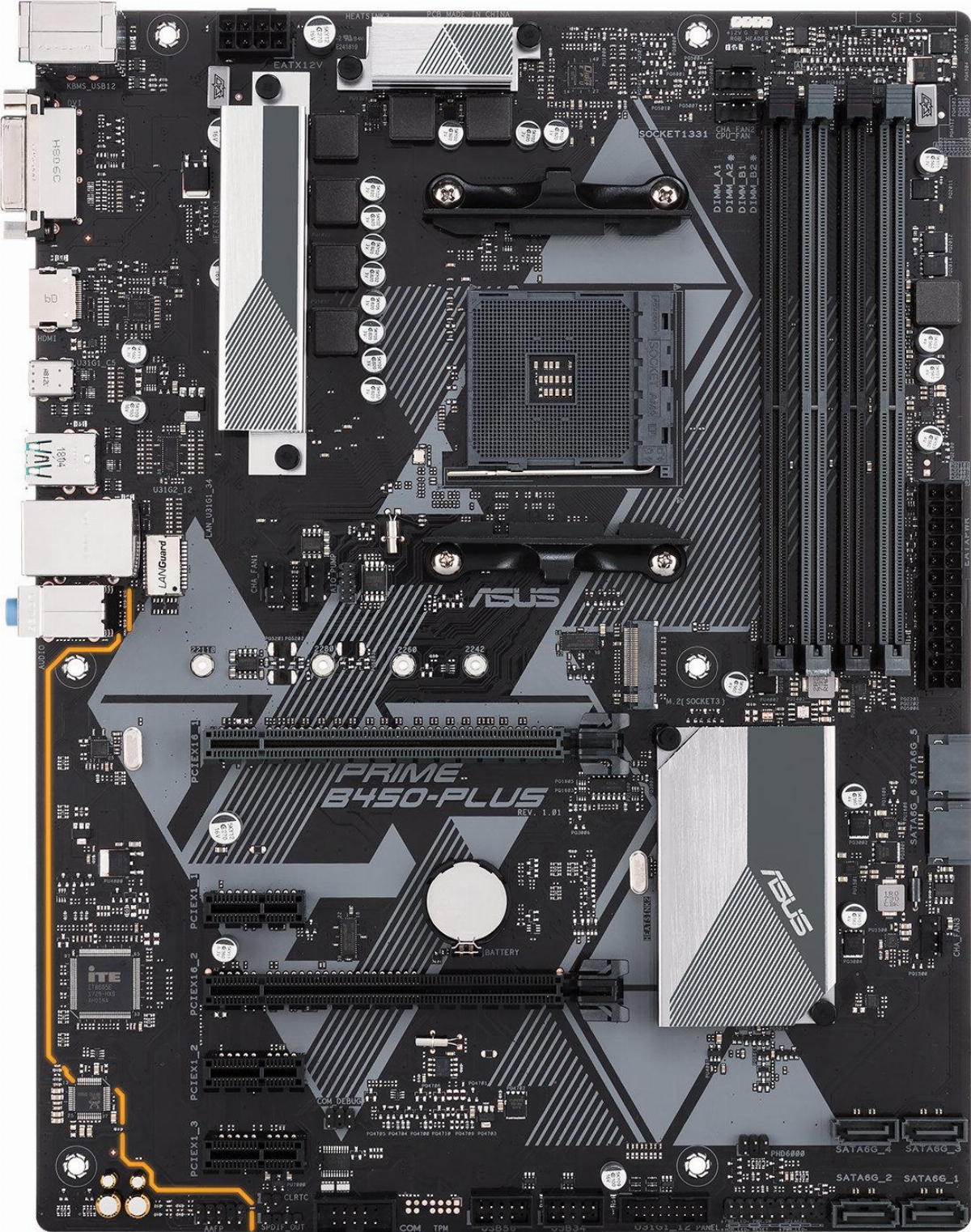 Дънна платка ASUS PRIME B450-PLUS socket AM4, 4xDDR4, Aura Sync