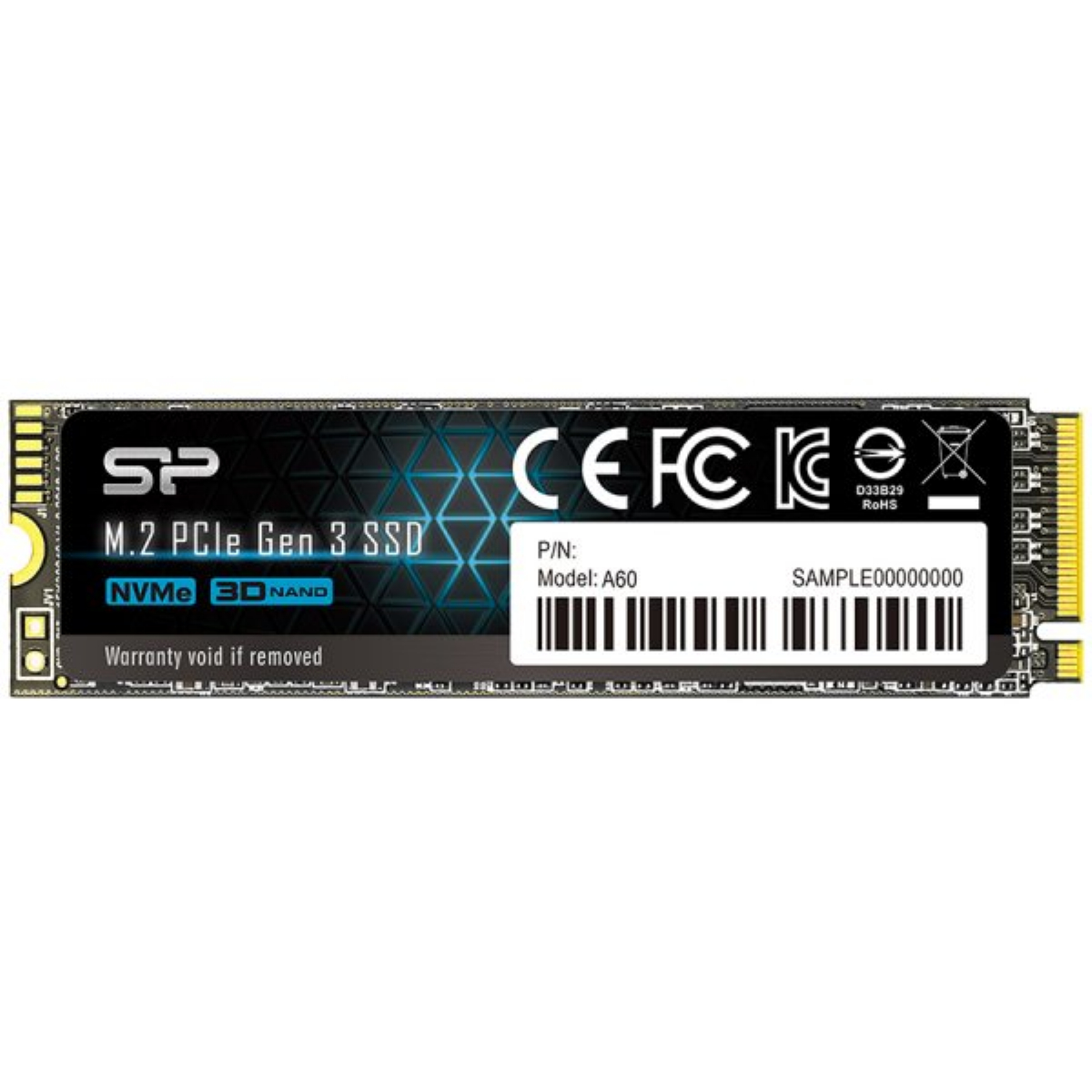 Диск SSD Silicon Power A60 512GB M.2 PCIe NVMe Gen 3.0 x 4 2280