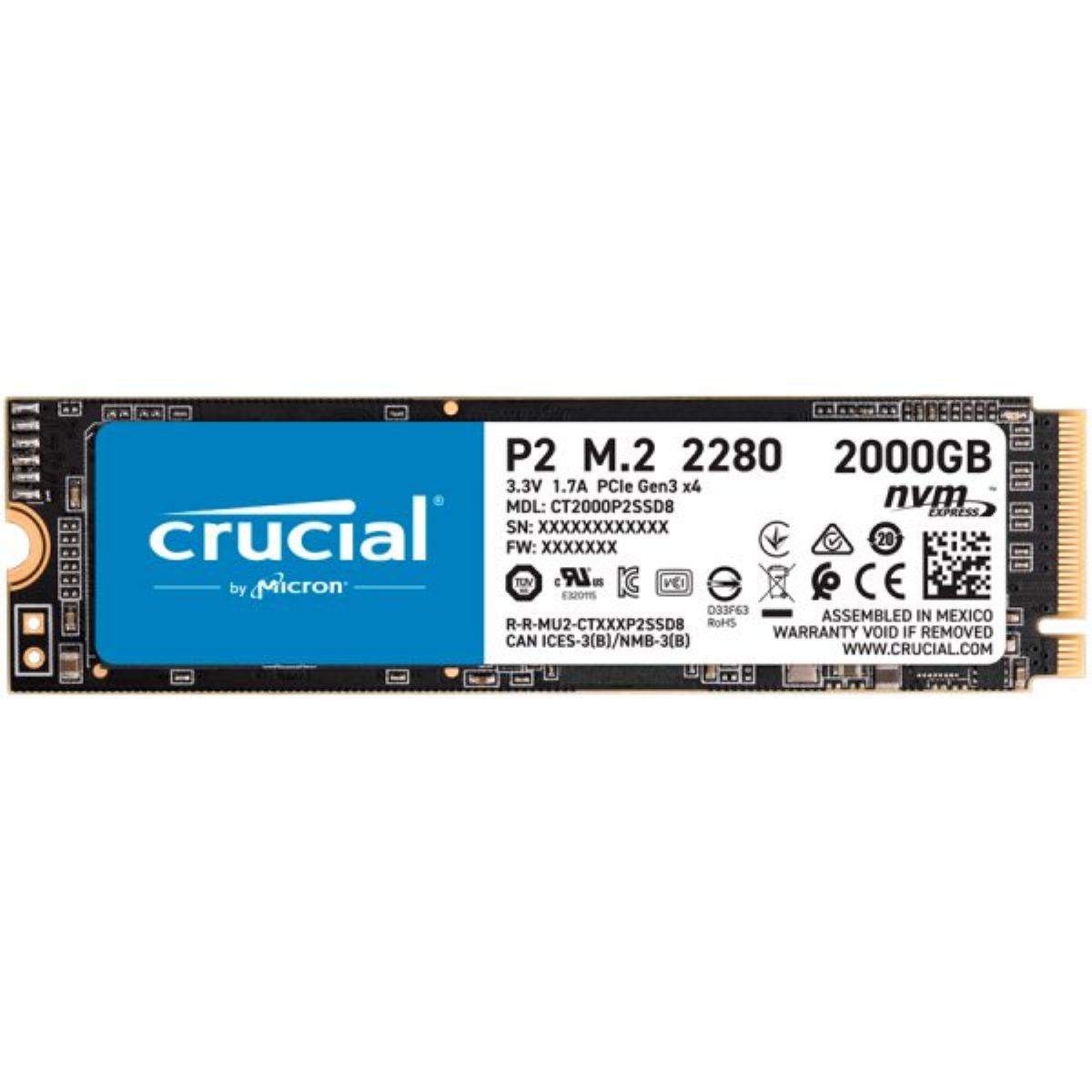 Диск SSD Crucial P2 2TB 3D NAND M.2 PCIe NVMe 3.0 x4