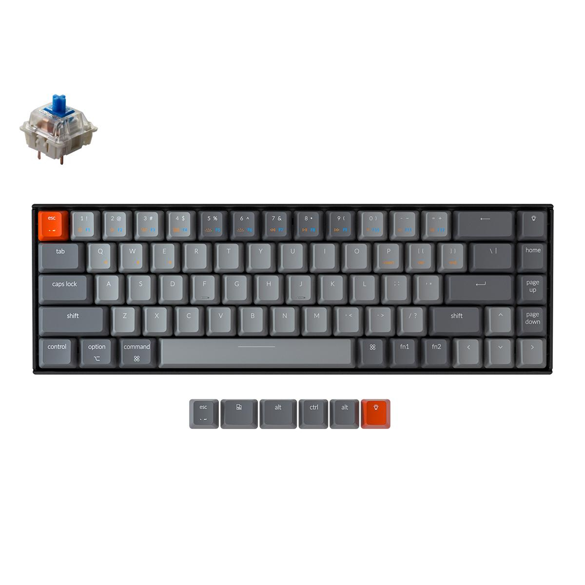 Геймърска Механична клавиатура Keychron K6 Hot-Swappable 65% Gateron Blue Switch White LED Gateron Blue Switch ABS