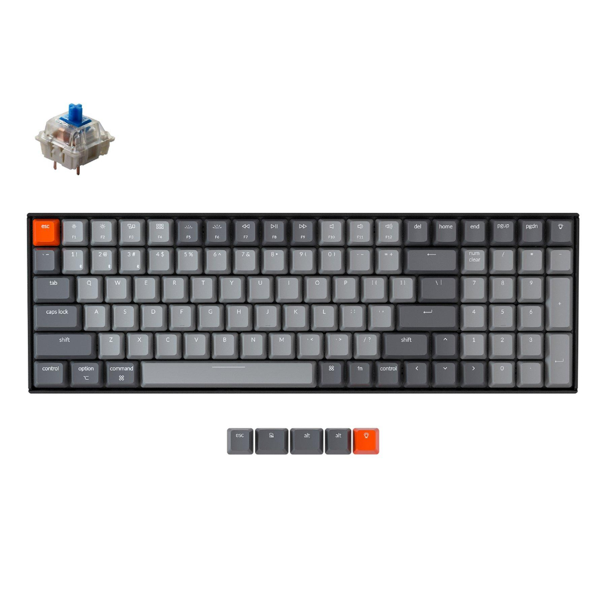 Геймърска Механична клавиатура Keychron K4 Hot-Swappable Full-Size Gateron Blue Switch White LED Gateron Blue Switch ABS