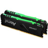 Памет Kingston FURY Beast Black RGB 32GB (2x16GB) DDR4 3200MHz CL16 - KF432C16BBAK2/32 Снимка 1